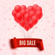 Balloons in form of heart holding big sale red banner — Stock Vector #62344991