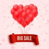Balloons in form of heart holding big sale red banner — Stock Vector