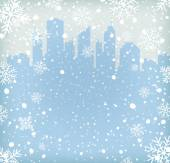 Background with snow flakes and city silhouette — Stock Vector