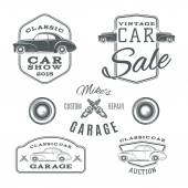 Set of vintage, classic car services labels isolated on white background — Stock Vector