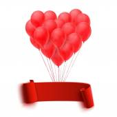 Balloons in form of heart holding big blank red banner — Stok Vektör