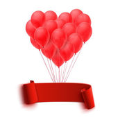 Balloons in form of heart holding big blank red banner — Vetorial Stock