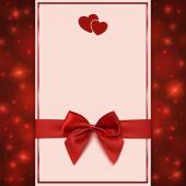 Greeting card template with red bow, ribbon and two hearts — Stock Vector