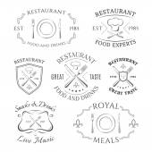 Set of heraldic restaurant logos, labels and badges — Stock Vector
