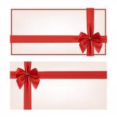 Gift voucher template with red ribbon and a bow — Cтоковый вектор