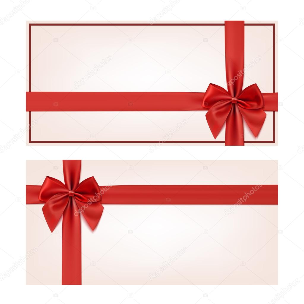 gift voucher template red ribbon and a bow stock vector gift voucher template red ribbon and a bow stock vector 64642869