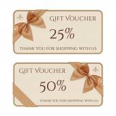 Gift voucher template with golden ribbon and a bow — Stock Vector