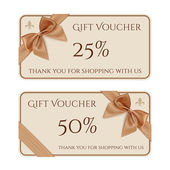 Gift voucher template with golden ribbon and a bow — Vector de stock