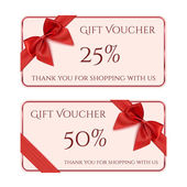 Gift voucher template with red ribbon and a bow. — Stock Vector