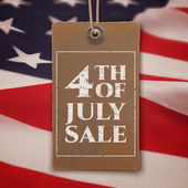 Fourth of July sale. Vintage, realistic price tag. — Stock Vector