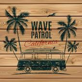 Grunge, vintage, retro surf van. — Stock Vector