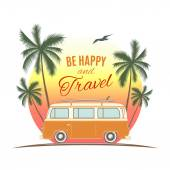 Vintage, retro surf van with palms and sun. — Stock Vector