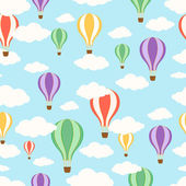Air balloons in the sky. Seamless pattern. — Stock Vector