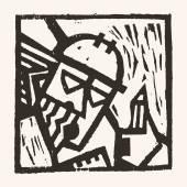 Linosnede geometrische karakter-03 — Stockvector