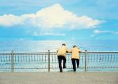 Elderly couple relaxing by the sea, with blue toning effect — Stock Photo