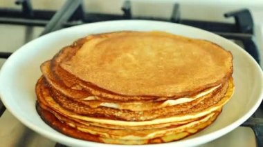 Stack of Pancakes, timelapse — Vídeo Stock