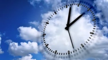Clock In blue sky — Stock Video