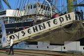 Russian tall ship Kruzenshtern, in the Fishing port. Kaliningrad — Stock fotografie