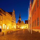 Old part of the Greifswald in the night — 图库照片