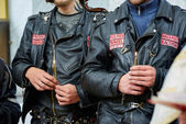 First in Kaliningrad procession on motorcycles and priest — Stockfoto
