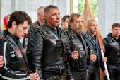 First in Kaliningrad procession on motorcycles and priest — Stock Photo