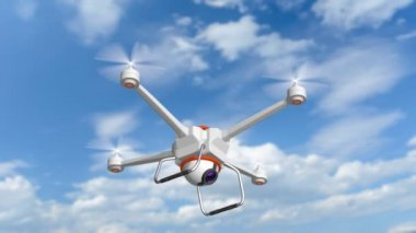 Drone hovering in a blue sky — Stock Video