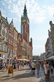 People walking on streets in historical center. Gdansk — Stock Photo