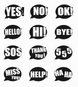 Most common used acronyms and abbreviations on word speech bubbl — Stock Vector