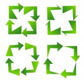 Set of green recycle sign — Stock Vector