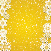 Abstract winter golden snowflakes background  — Stock Vector