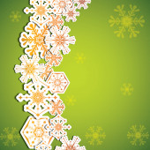 Abstract winter green snowflakes background  — Stock Vector