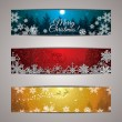 Winter forest colorful background banner set — Stock Vector #55193615
