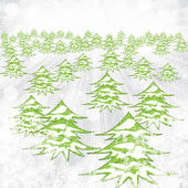 Abstract winter background with trees and snowflakes — Vector de stock