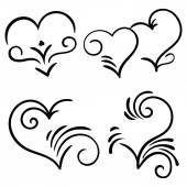 Hand drawn vector swirl heart elements — Stock Vector