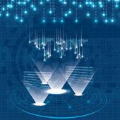 Hologram style futuristic design blue background — Stock Vector