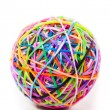 Colorful wonder loom band rubber ball isolated on white — Stock Photo #55915719