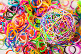 Colorful wonder loom band rubber ball isolated on white — Stock Photo