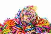 Colorful wonder loom band rubber ball isolated on white — Stok fotoğraf
