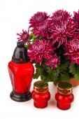 Grave candle  lantern with flowers isolated on white — Stock Photo