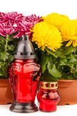 grave candle  lantern with flowers isolated on white — Stockfoto