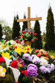 Grave  with flowers — Stock Photo