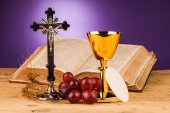 Holy communion corn and grapes — Stock Photo