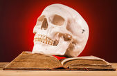 Human scull  and old book — Stock Photo