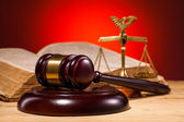 Gavel, scales of justice and old book — Stock Photo