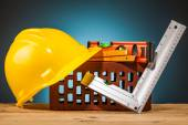 Brick and mason builder tools — Stock Photo