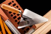 Builder tools on black background — Stock Photo