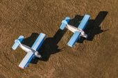 Aerial view of old planes on airfield — Stock Photo