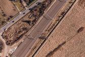 Аэрофотоснимок железнодорожная станция — Стоковое фото