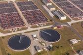Aerial view of sewage treatment plant — ストック写真