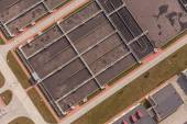 Aerial view of sewage treatment plant — Stockfoto